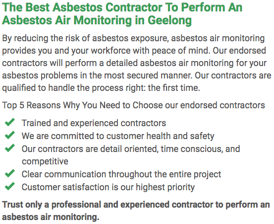 Asbestos Watch Geelong - air monitoring left