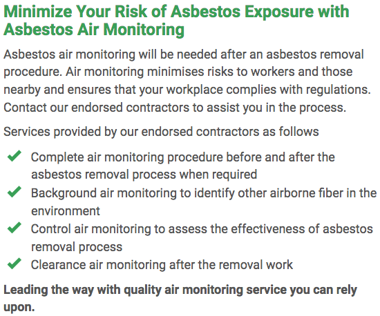 Asbestos Watch Geelong - air monitoring right