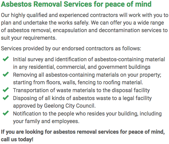 Asbestos Watch Geelong - removal right